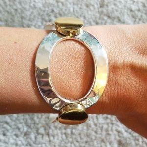 Rustic cuff gold and silve bracelet